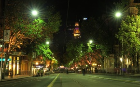 Picture trees, night, lights, street, home, Australia, Melbourne