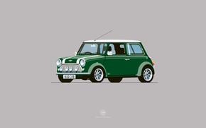 Picture Auto, Mini, Cooper, Minimalism, Figure, Green, Machine, Mini Cooper, Art, Mini, Nik Schulz, B10CY8, B10 …