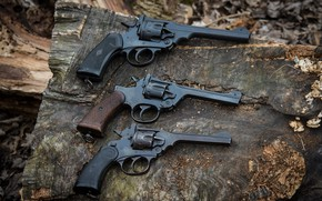 Picture weapons, revolvers, three pieces