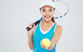 Wallpaper girl, smile, background, Mike, racket, cap, the ball, athlete, tennis