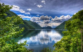 Picture forest, the sky, clouds, trees, mountains, branches, lake, foliage, treatment, Italy, Lake Lugano