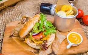 Picture Burger, potatoes, mustard