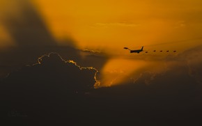 Wallpaper the sky, escort, aircraft