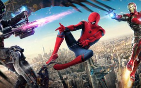 Wallpaper poster, Spider-Man: Homecoming, Robert Downey Jr., fight, comic, Michael Keaton, the city, Tony Stark, MARVEL, ...