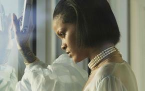 Picture gun, profile, singer, Rihanna