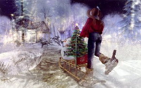 Picture girl, snowman, tree, sled
