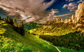 Picture greens, forest, the sky, grass, the sun, clouds, trees, mountains, rocks, trail, Switzerland, valley, slope, …