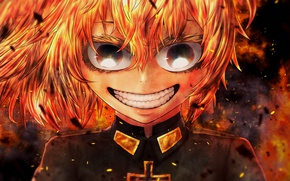 Picture fire, flame, girl, soldier, military, war, Germany, smile, anime, cross, blonde, asian, manga, mad, oriental, …