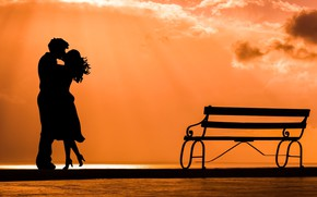 Picture joy, bench, love, pair, silhouette, meeting, kiss, date