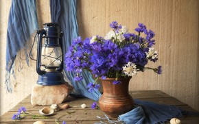 Picture flowers, lamp, pitcher, wood, cornflowers