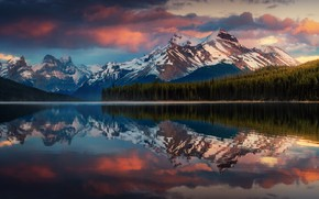 Picture clouds, mountains, reflection, Canada, Albert