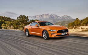 Picture road, orange, movement, Ford, 2018, fastback, Mustang GT 5.0