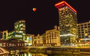 Picture building, the sky, Dusseldorf, pier, night, channel, boats, lights, Germany, home, balloon, Düsseldorf, balloon