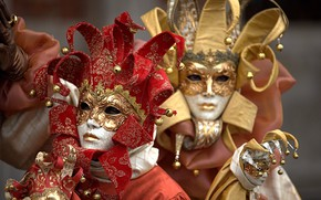Picture pair, Venice, carnival, mask, costumes
