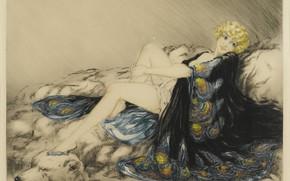 Picture 1926, the skin of a bear, art Deco, Louis Ikar, Silk gown