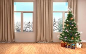 Picture winter, tree, interior, window, New year