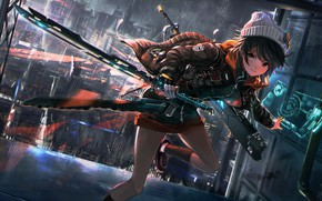 Picture girl, weapons, runs