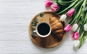 Picture flowers, coffee, Breakfast, Cup, tulips, pink, white, heart, wood, pink, flowers, cup, romantic, tulips, coffee, ...
