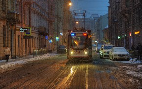 Wallpaper Saint Petersburg, snow, tram, street