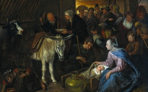 Picture oil, picture, canvas, mythology, The Adoration Of The Shepherds, Ian Havickszoon Walls