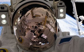 Wallpaper USA, astronaut, NASA, ISS, Thomas Sands, reflection