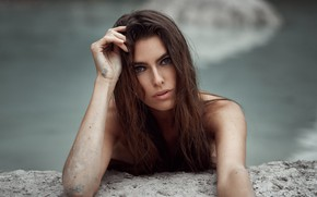 Picture look, water, model, makeup, hairstyle, brown hair, beauty, bokeh, Median Income Is Only Masojc, Nijole