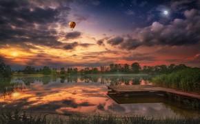Picture sunset, balloon, beauty