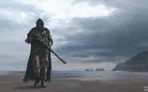 Picture sea, rocks, shore, warrior, Post-Apocalyptic Warriors