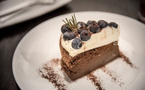 Wallpaper cream, cake, dessert, chocolate, chocolate souffle, blueberries