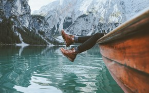 Picture mountains, lake, photo, feet, boat, shoes, Jason Charles Hill