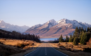 Picture road, mountains, morning