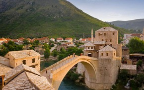 Picture mountains, river, home, Bosnia and Herzegovina, Mostar, Old Bridge