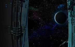 Picture planet, stars, eclipse