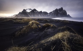Picture beach, mountains, clouds, mountain, Iceland, black Sands