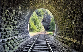 Picture metal, wood, tunnel, stones, railway, Trees