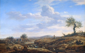 Picture tree, oil, picture, Adriaen van de Velde, Hilly Landscape with a Great way