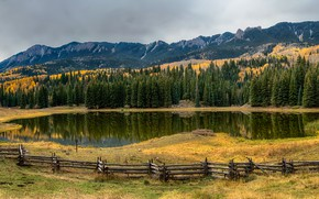 Wallpaper mountains, Colorado, trees, panorama, the fence, lake, rocks, fence, grass, autumn, forest, USA