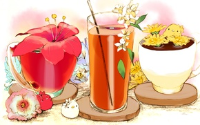 Picture flower, red, glass, juice, creatures, Cup, drink, Chicks, straw, stand
