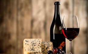 Picture background, wine, glass, bottle, cheese, grapes, corkscrew, bokeh