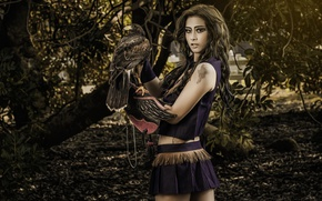 Wallpaper bird, background, girl