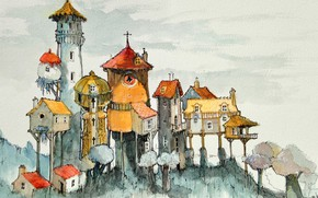 Picture figure, tale, watercolor, house