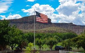 Picture trees, mountains, flag, America, USA, ranch, the flagpole