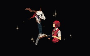 Wallpaper anime, girl, The Ancient Magus' Bride, art, Bride of the sorcerer, skull, Mahou Tsukai no ...