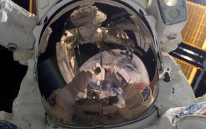 Picture reflection, USA, ISS, astronaut, NASA, Robert Behnken