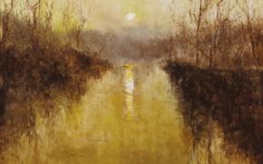 Picture sunset, river, Genre painting, PAL Fried, River landscape in France