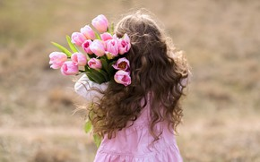 Picture pink, hair, girl, tulips, curls