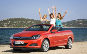 Picture auto, beach, look, girls, Girls, Opel, convertible