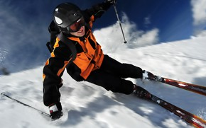 Wallpaper snow, speed, winter, helmet, ski, backpack, gloves, skier, glasses, skiing, stick, costume