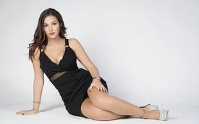 Wallpaper girl, dress, legs, sweet, cute, black dress, long hairs
