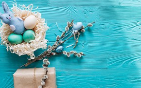 Wallpaper branches, gift, eggs, spring, Easter, wood, Verba, blue, gift, spring, Easter, eggs, decoration, Happy, tender